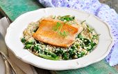 stock photo of kidney beans  - Fried salmon with brown rice - JPG