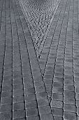 image of paving stone  - Diagonal lines and gray paving stones of the pavement in the city - JPG