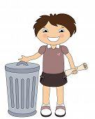 stock photo of nonverbal  - Smiling cartoon girl throwing out the trash isolated on white - JPG