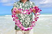 Постер, плакат: Hawaii tradition giving a Hawaiian flowers lei Portrait of a male person holding a garland of flo