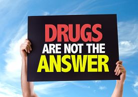 picture of lsd  - Drugs Are Not The Answer card with sky background - JPG
