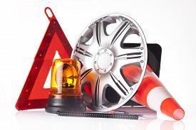 picture of rectifier  - warning triangle and road emergency items isolated on white - JPG