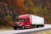 stock photo of 18 wheeler  - red semi - JPG