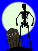 picture of skeleton  - A gravestone and skeleton in a cemetery with fence set against the full moon - JPG