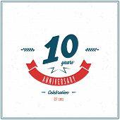 stock photo of ten years old  - Ten years anniversary celebration logotype - JPG