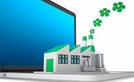 picture of environmentally friendly  - Environmentally friendly factory concept. Green factory on the laptop. Concept: the importance of digitalizing in the infrastructures considering also the environmental sustainability. - JPG