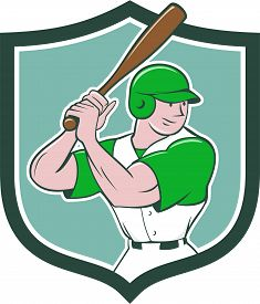 image of bat  - Illustration of an american baseball player batter hitter with bat batting stance viewed from side set inside shield crest done in cartoon style isolated on background - JPG