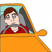 foto of droopy  - An image of a tired man sitting in traffic - JPG