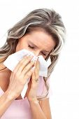 Young woman having flu or allergy. Isolated over white background
