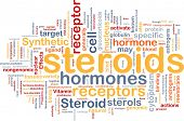 Background concept wordcloud illustration of steroids synthetic hormones