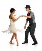 Junges Paar Tanzen gegenüber dem weißen Hintergrund isoliert
