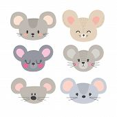 Set Of Cute Mouses. Funny Doodle Animals. Little Mouse In Cartoon Style poster
