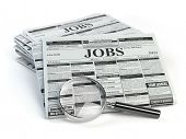 Job search. Loupe with jobs classified ad newspapers isolated on white. 3d illustration poster