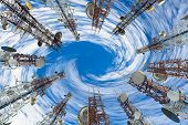 Mobile Phone Communication Antenna Tower With Cloud And Blue Sky. poster