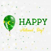 Cocos Islands National Day Patriotic Poster. Flying Rubber Balloon In Colors Of The Cocos Islander F poster
