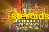 Background concept wordcloud illustration of steroids synthetic hormones glowing light