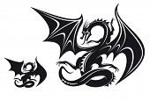 Isolated fantasy black dragon for tattoo design