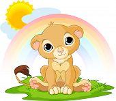 Een schattig karakter van gelukkig Leeuw cub op zonnige dag