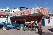 Boat in drydock