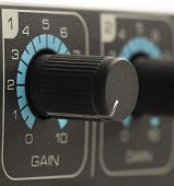 gain volume faders closeup