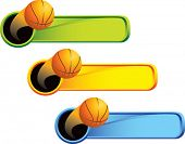 multi color thrown basketball web banner