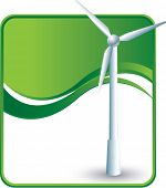 windmill on green wave background