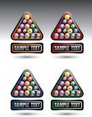 banners cuadrados coloreados con bolas de billar