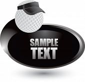 golf ball with visor on silver swoosh banner