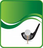 golf ball on tee with club on green wave background