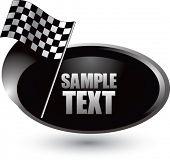 racing checker flag on silver swoosh