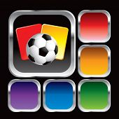 soccer ball and penalty cards on colored web buttons