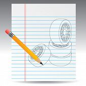 tires on notebook paper with pencil