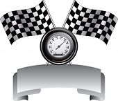racing checkered flags and speedometer on silver crest