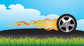 flaming tire on pavement