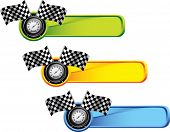 racing checkered flags and speedometer on colored tabs