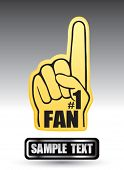 number one fan foam hand on nameplate