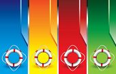 life ring on colored banners