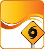 hurricane warning sign on orange wave background