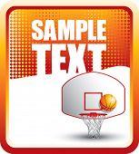 Постер, плакат: баскетбольное кольцо и спинодержатель на оранжевый баннер