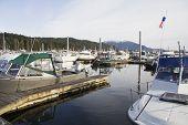 Boats In Harbor In Skagway Alaska