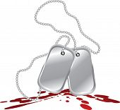dog tags on blood splat