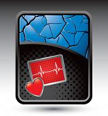 image of blue-screen-of-death  - heart monitor on blue cracked background - JPG