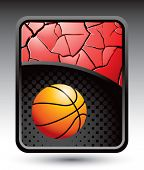 basketball on cracked halftone template