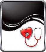 stethoscope on black wave backdrop