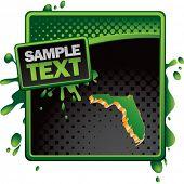 forma de estado de Florida no banner de meio-tom verde e preto