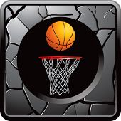 basketball hoop on silver cracked web icon