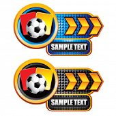 soccer ball with red and yellow cards on arrow banners