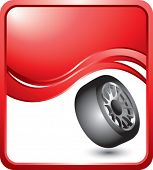 tire rotated on red wave background