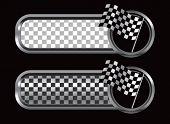 racing checkered flag on diamond textured banners