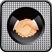 business handshake on checkered web icon